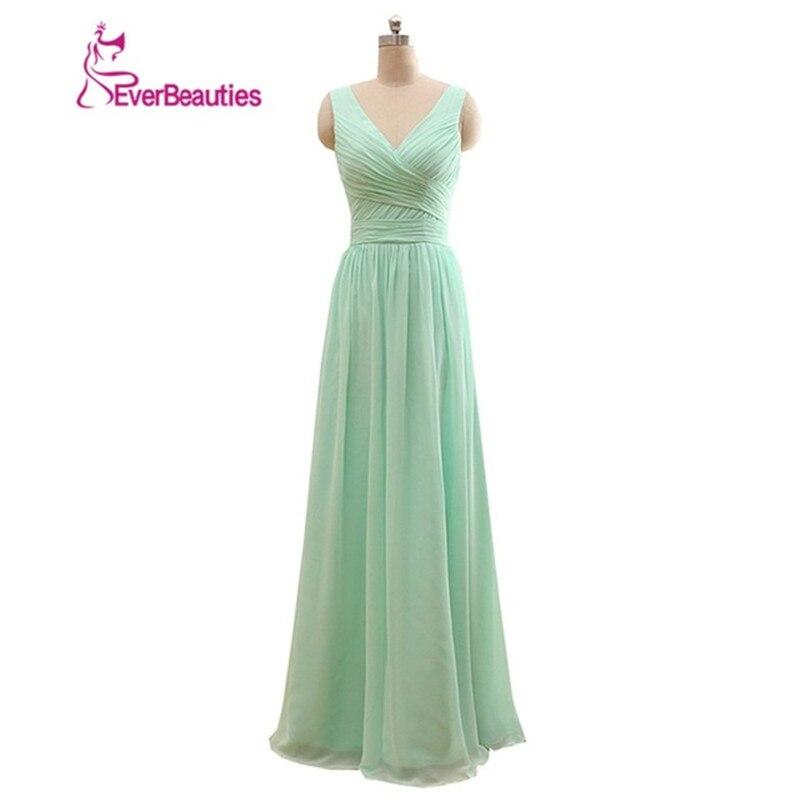 Longue robe de demoiselle d'honneur vert menthe mousseline de soie une ligne plissée robe de demoiselle d'honneur moins de 50 robe de mariée 2019