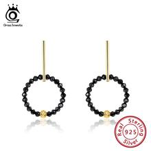 цена ORSA JEWELS Silver 925 Women Earrings Black Spinel Natural Stone Round Drop Earings Gold-color Sterling Silver Jewelry OSE153-B онлайн в 2017 году