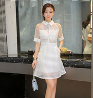 2016 New Fashion Summer Dress Women Korean Slim Was Thin Hollow Lace Dress Female Short Sleeved