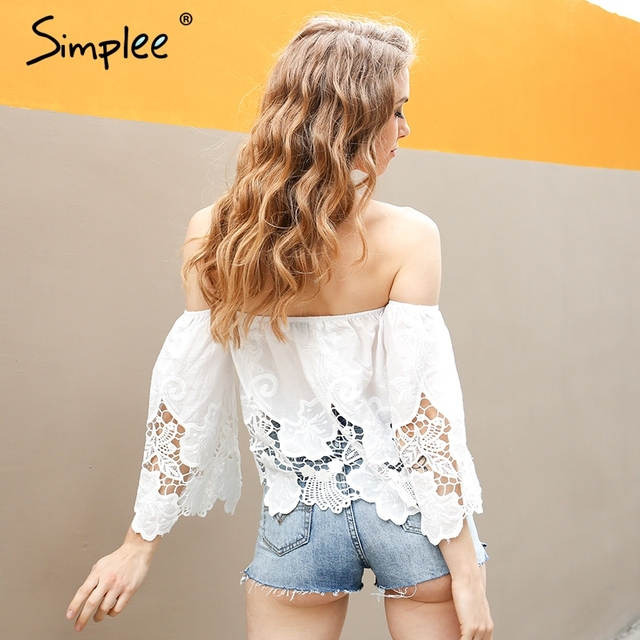 Simplee Off shoulder floral lace white blouse Women tops Hollow out flare sleeve female blouse shirt Sexy chemise femme blusas