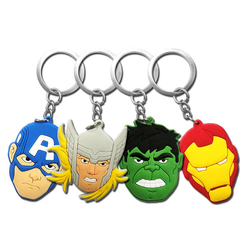1 Uds PVC llavero figura de dibujos animados personaje de Los Vengadores llavero Anime Hulk Batman llavero Super héroe chico juguete titular regalo de Navidad