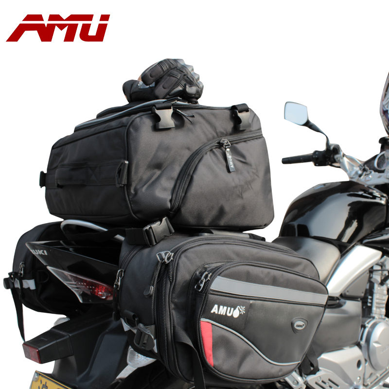 2016 Fashion AMU Motorcycle Saddle Bag Waterproof Rear Edging Bags Motorcycle Helmet Knight Rain Tail Oxford Cloth Luggage Bags motorcycle rear bag black d tail alforjas para saddle bags tail bag ogio