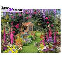 Ever Moment Diamond Painting Flower Door House Scenery Picture Of Rhinestone Mosaic Full Square Drill Diamond Embroidery 3F426