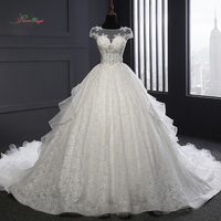 Dream Angel Vestido De Noiva Royal Train Ruffles Wedding Dresses 2018 Sexy Illusion Appliques Beaded Lace