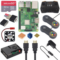 Raspberry Pi 3 Model B+ Game kit+ 32GB SD Card ABS Case + 2.4G Keyboard + 2 Game Controller + Power Adapter + HDMI + Heatsinks