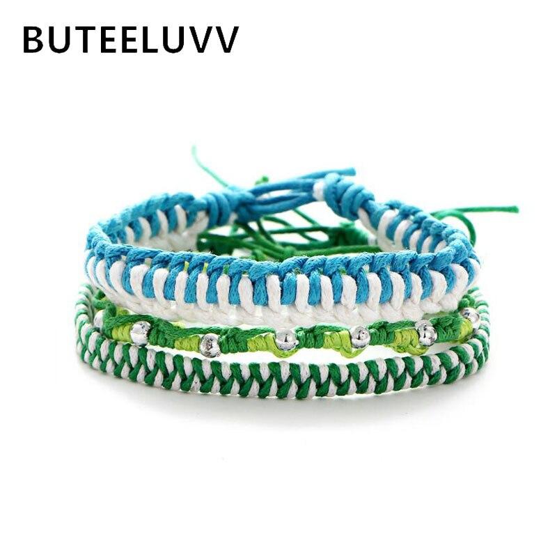 BUTEELUVV Bohemian Multilayer Weave Bracelets for Women Elegant Ethnic Fresh Blue Green Pink White Handmade KnItted Bracelets