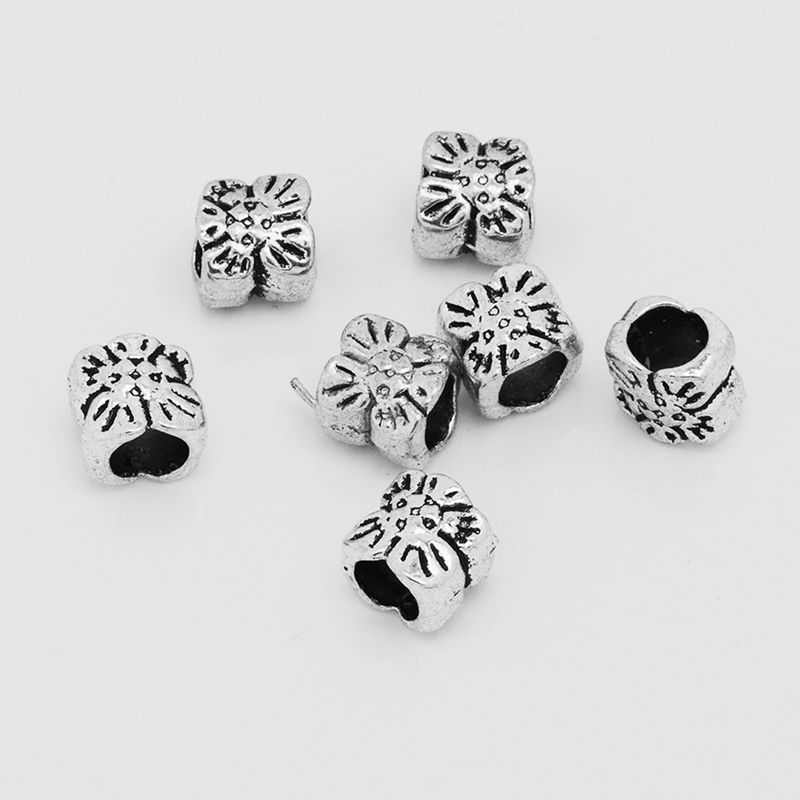 160pcs Tibetan Silver Tie Crafts Charm Loose Spacer Beads 3.5x5.5mm