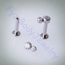 14G 16G Titanium G23 Labert Lip Percing Chủ Đề Nội Bộ Tinh Thể CZ Ear Vành Cartilalges Stud Bông Tai Đồ Trang Sức Cơ Thể