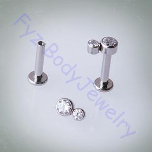Image 1 - 14g 16g 티타늄 g23 labert 립 퍼싱 내부 스레드 크리스탈 cz 귀 tragus cartilalges 스터드 귀걸이 바디 쥬얼리