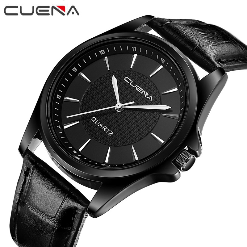 Cuena бренд Для мужчин Повседневные часы модные Пояса из натуральной кожи мужской Наручные часы 30 м Водонепроницаемый Повседневное Relogio masculino ...