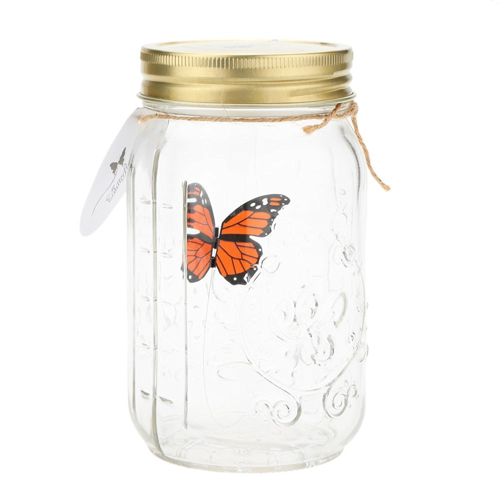 Romantic Glass LED Lamp Butterfly Jar Valentine Children Gift Decoration Orange