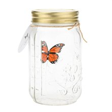 Romantic Glass LED Lamp Butterfly Jar Valentine Children Gift Decoration Orange