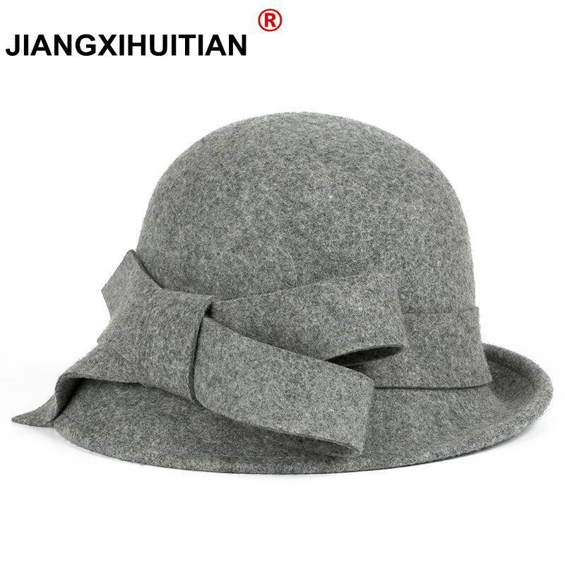 2022 New Winter warmth Fashion Bow Fedora Lady Hat Dome Elegant Ladies Real wool Topper For Women Bowknot Winters Hats For Women