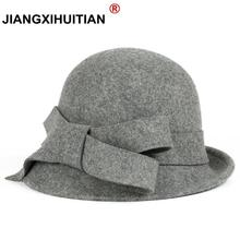 2017 New Winter warmth Fashion Bow Fedora Lady Hat Dome Elegant Ladies Real wool Topper For Women Bowknot Winters Hats For Women