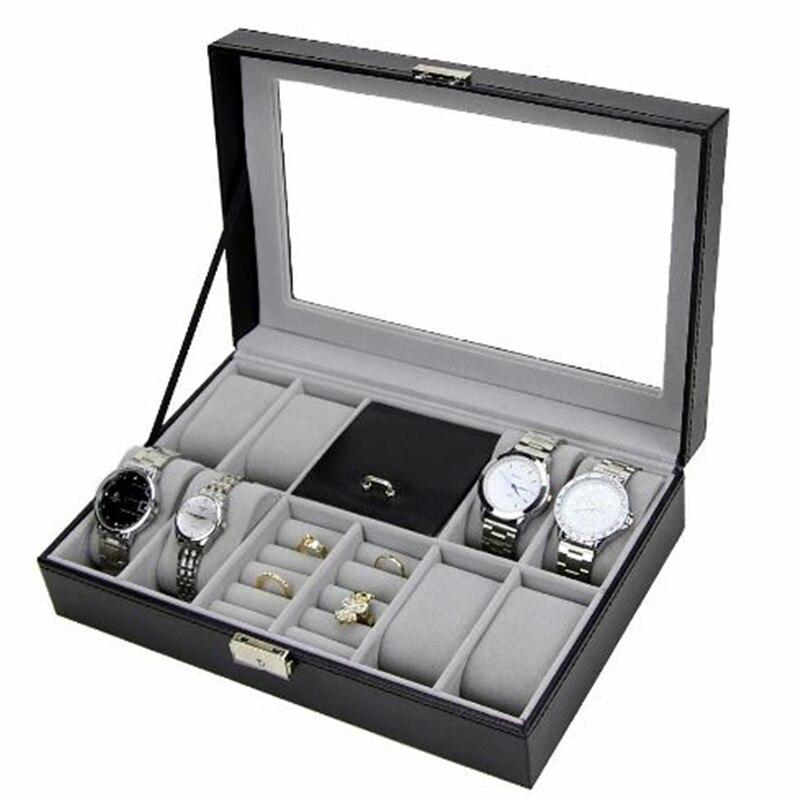 FANALA 2 в одном 8 сетки + 3 смешанных сетки искусственная кожа часы кейс для хранения Организатор Box Роскошные ювелирные изделия кольца дисплей ...