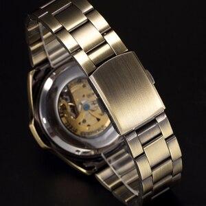 Image 5 - 골동품 디자인 자동 해골 기계식 시계 빈티지 브래스 경감 님이 스틸 남성 손목 시계 해골 Steampunk 시계 남성 블루 다이얼