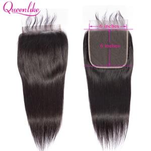 Image 1 - Queenlike مستقيم 6x6 إغلاق كبير حجم الدانتيل السويسري إغلاق قبل قطعها مع شعر الطفل شعري الطبيعي البرازيلي شعر ريمي