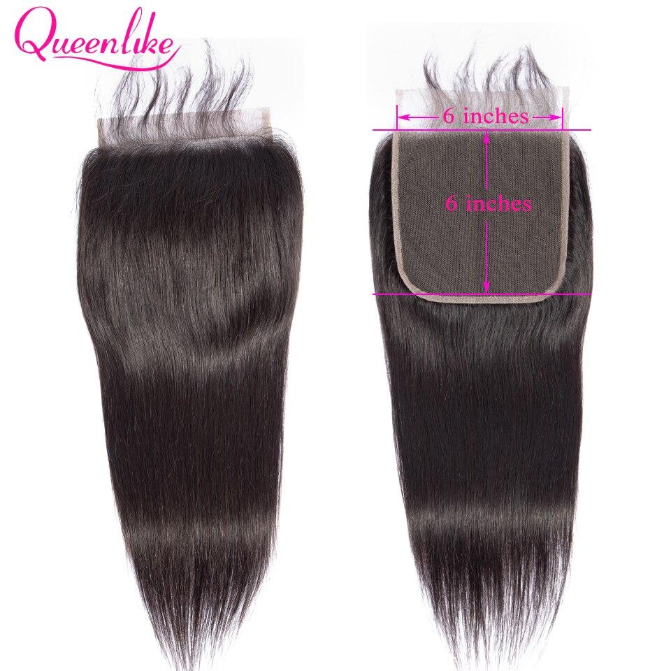 Queenlike em linha reta 6x6 fechamento do laço grande tamanho suíço fechamento do laço pré arrancado com o cabelo do bebê natural linha fina cabelo remy brasileiro
