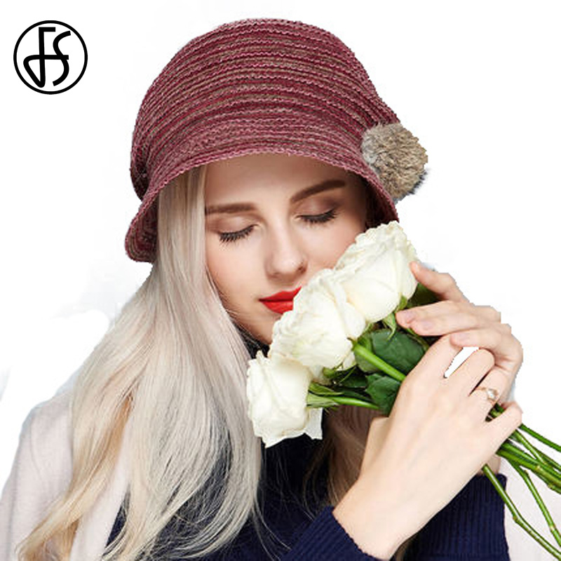 Women Cute Beret Hat For Winter Acrylic Baret With Pompom Hats Beige Wine Red Wide Brim Beret Cap