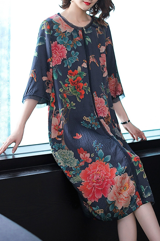 YICIYA Blue 2019 Plus Size Silk Dress for Women High Quality Xxl Flowing Print Elegant Vintage Loose Party Midi Dresses Clothes in Dresses from Women 39 s Clothing