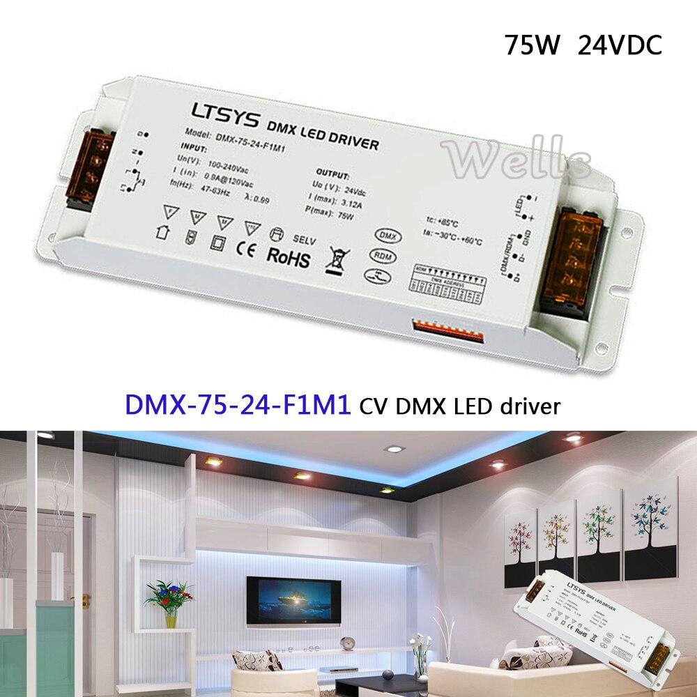 DMX-75-24-F1M1; led dimming intelligent driver;AC100-240V input 24V/3.1A/75W output CV DMX512/RDM LED driver ltech led dimming intelligent driver dmx 75 12 f1m1 ac100 240v input 12v 6 25a 75w dmx512 rdm output cv dmx led driver
