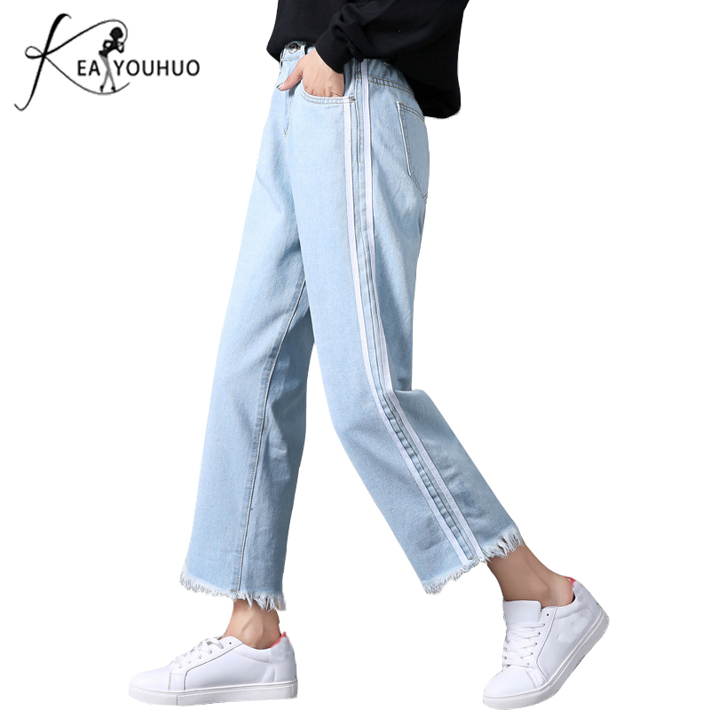 2019 Summer Female Boyfriend   Jeans   For Women Elastic High Waist   Jeans   Loose Fat Mom   Jeans   Denim Wide Leg Pants Side Stripe Pants