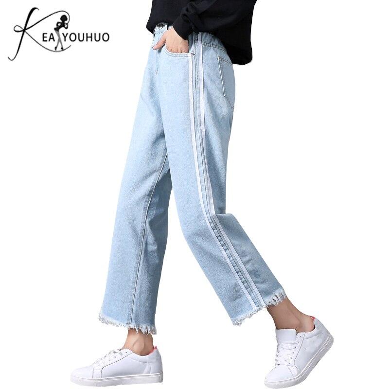 2019 Winter Stretch Boyfriend Jeans For Women High Waist Mom Jeans Wide Leg Female Pants Side Stripe Denim Skinny Jeans Woman