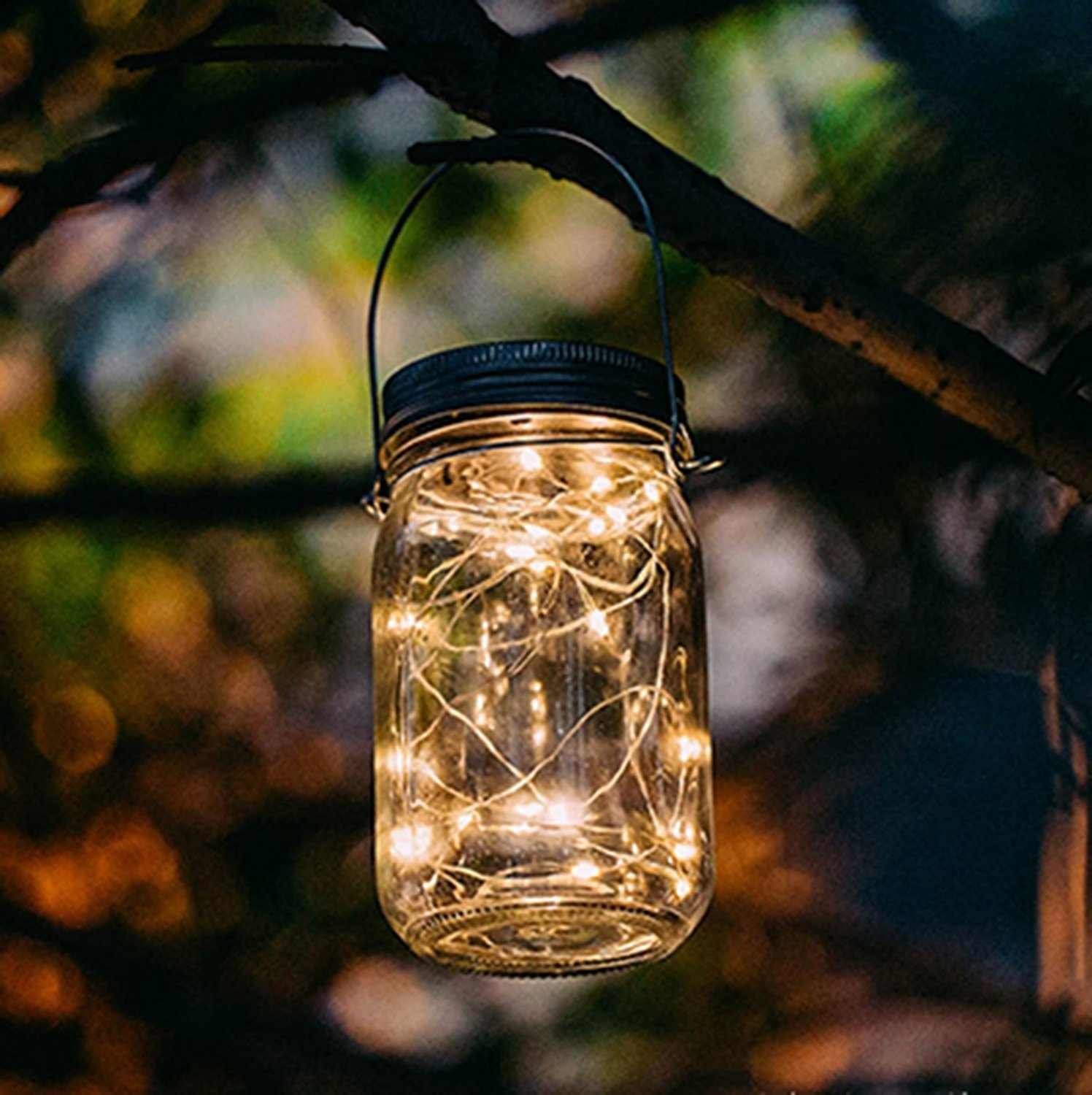 6 Pack Solar Mason Jar Lights 10 Led