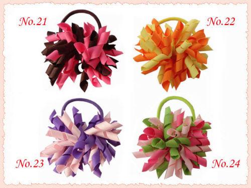 100pcs 3 5 korker hair bows clip fashion boutique girl Corcer elastic print ribbon hair ties