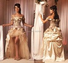 wunderschöne hallo-lo Champagner ballkleider mit handgemachte blume der schulter party cocktailkleider aber ein Kleid bekommen ein Geschenk qa45