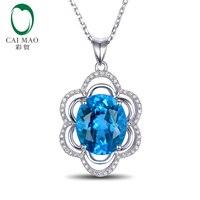 5.98ct 10x12 ملليمتر الأزرق توباز 14 كيلو الذهب الأبيض تمهيد الماس الاشتباك الزفاف قلادة