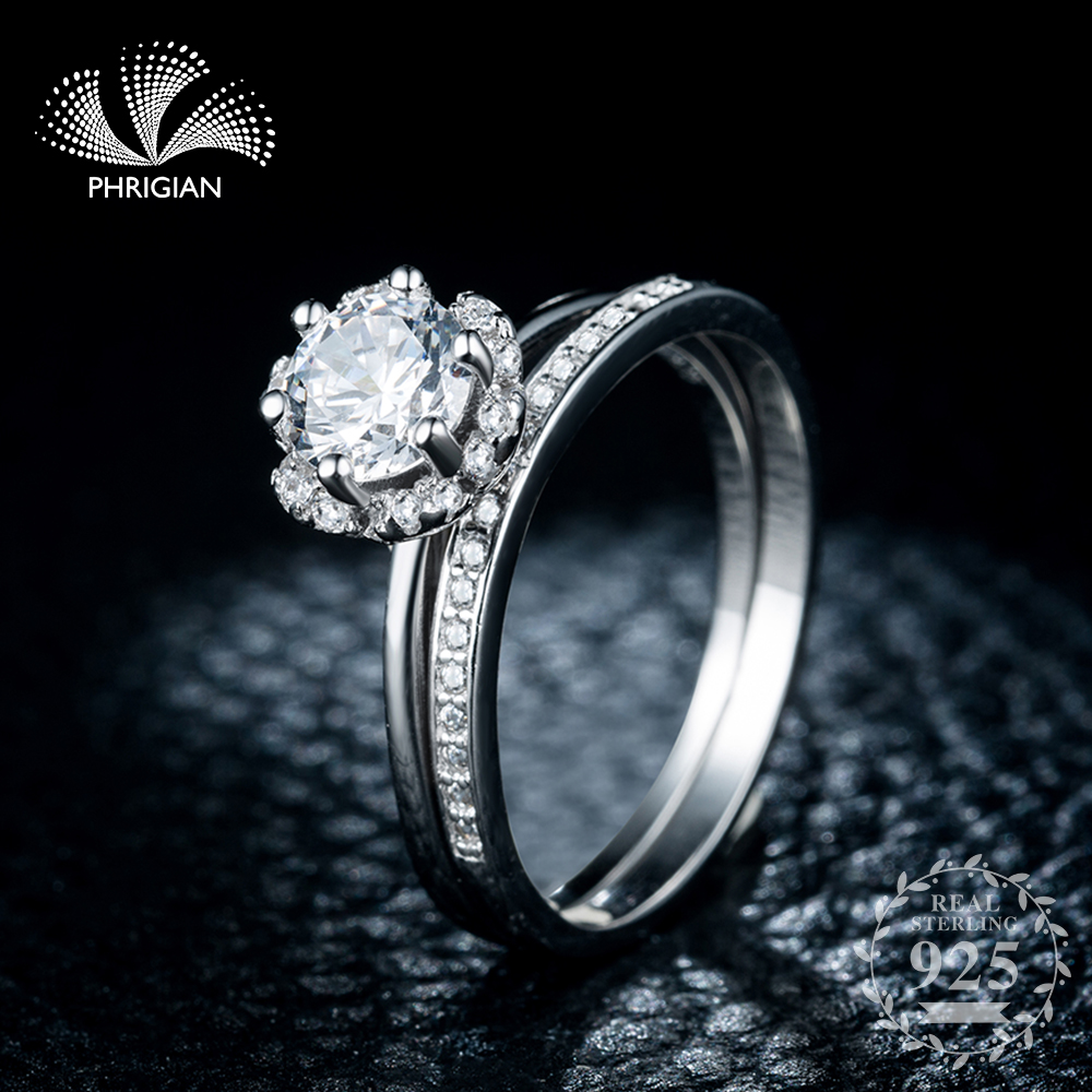 Sona NOT FAKE S925 Sterling Silver Ring SONA Diamond VS Clarity 0.5 Carat Luxury exquisite Ring Wedding Engagement 2pcs coupleSona NOT FAKE S925 Sterling Silver Ring SONA Diamond VS Clarity 0.5 Carat Luxury exquisite Ring Wedding Engagement 2pcs couple