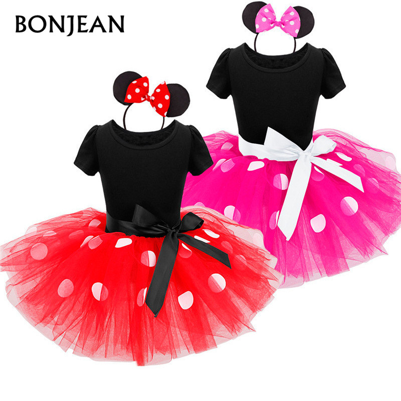 2017 New Kids Gift Minnie Mouse Party Dress Fancy Costume Cosplay Girls Minnie Dress+Headband Infant Baby Clothes Red 2-7Y newborn baby photography props infant knit crochet costume peacock photo prop costume headband hat clothes set baby shower gift