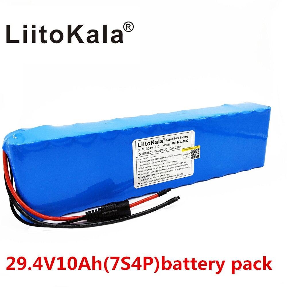 Liitokala DC 24 V 10ah 18650 Pil lityum pil 29.4 V Elektrikli Bisiklet moped/elektrik/lityum iyon batarya paketiLiitokala DC 24 V 10ah 18650 Pil lityum pil 29.4 V Elektrikli Bisiklet moped/elektrik/lityum iyon batarya paketi