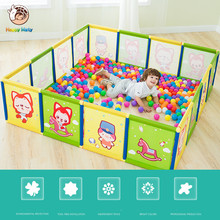 цена на Happymat Baby Safety Fence Guard Folding Kids Playpen Game Playing Pit Marine Ball Pool Portable Children's Game Tent Baby Fence
