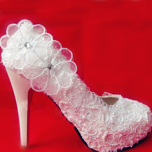 White Lace Flower Wedding Shoes Unique Round Toe High Heeled Bridal Shoes Waterproof Woman Party Prom Shoes Lady Club Shoes