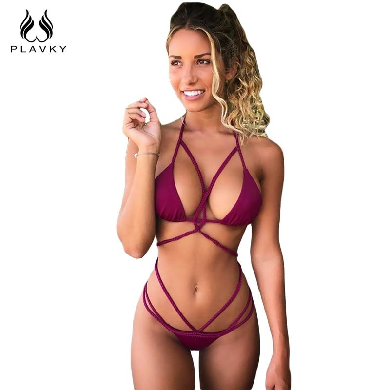 PLAVKY Sexy Braided Strap Biquini Halter Swim Bathing Suit High Cut Bandage  Swimsuit Vintage Swimwear Women 0aa82d570