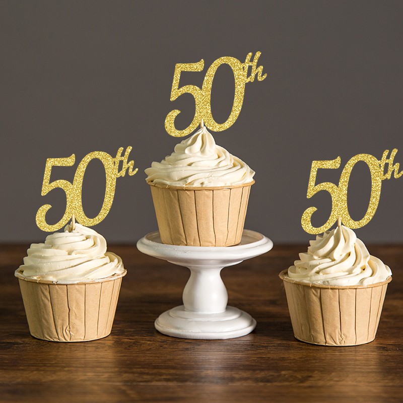 Gold silver black glitter 50th cupcake toppers picks for Anniversary cake decoration