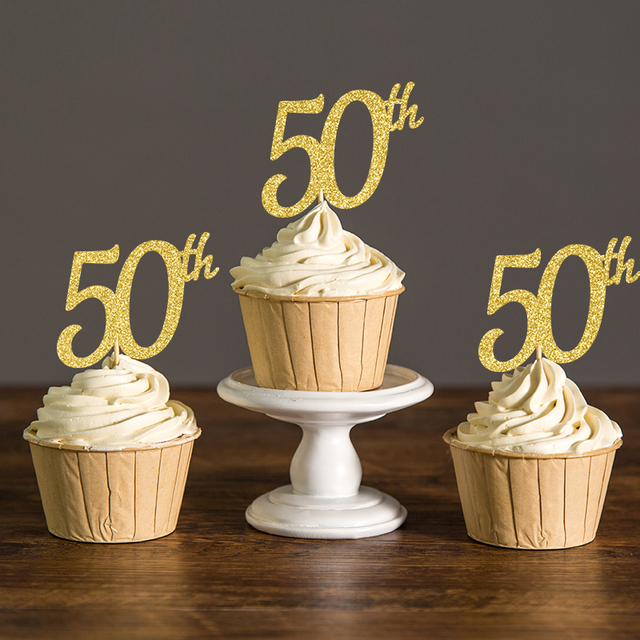 Gold silver black glitter 50th cupcake toppers picks for 50th birthday decoration packages