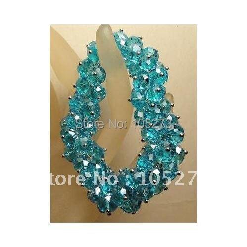 """Потрясающе! Кристалл браслет AA 6X8 мм кристалл синего цвета Длина браслета: 7,"""" инчс женские ювелирные изделия NF159"""