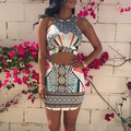 New Arrival Women Summer Boho Style Sexy Crop Top + Mini Skirt Slim Fit Two Piece Dress Set