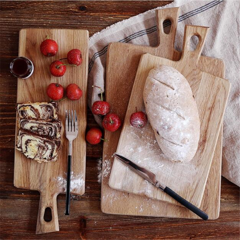 New Wooden Cutting Board Japan Style Kitchen Chopping Block Wood Cake Plate Bread Fruit Pizza Tray Baking Tool JJ119