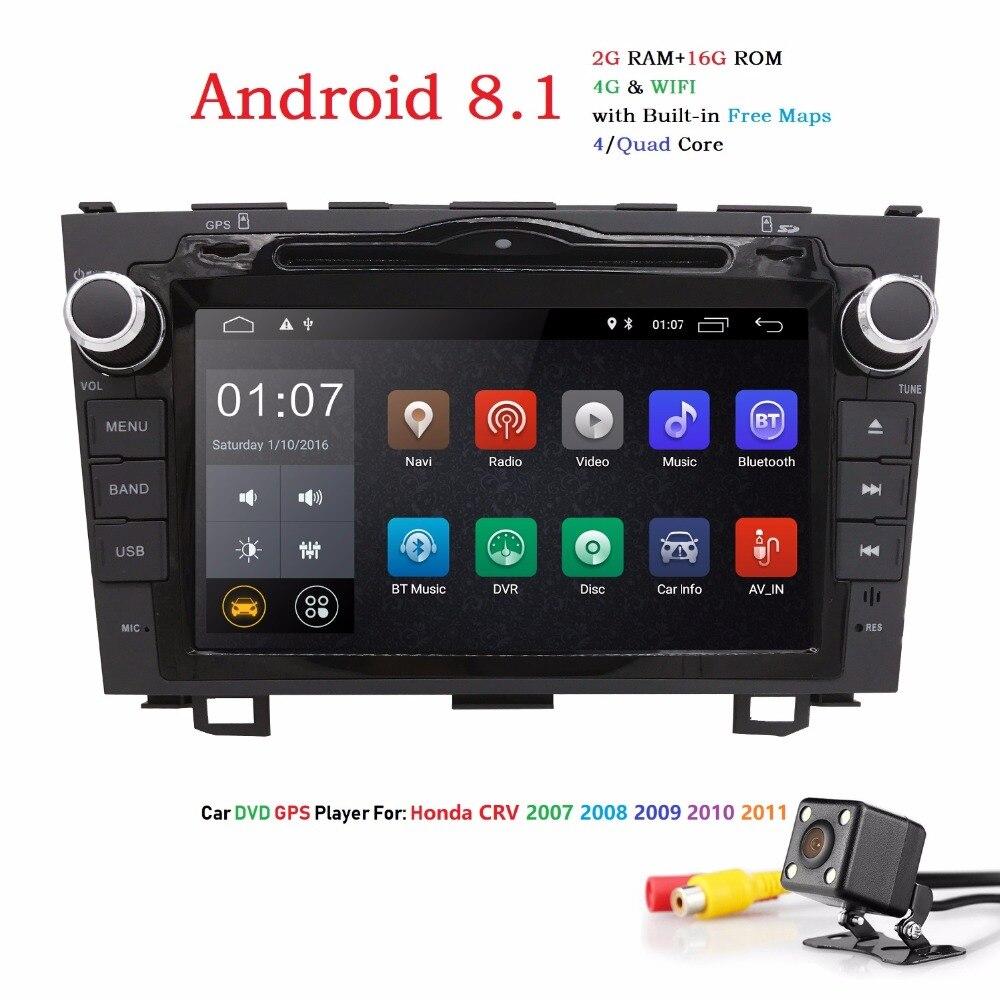 Hizpo Double Din 8 pouces Android voiture GPS Radio lecteur pour Honda CRV 2007-2011 Bluetooth USB 1080 P Subwoofer écran tactile Navi DVR