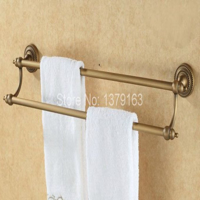 Bathroom accessory fitting antique brass wall mounted for Double towel rails for bathrooms