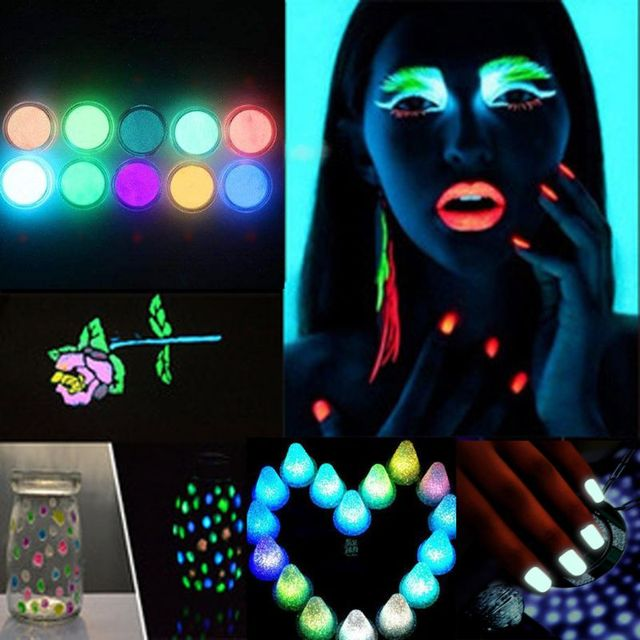 10 Colors Luminous Nail Glitter Powder Resin Neon Phosphor Pigment Dye UV Resin Epoxy DIY Making Jewelry Nail Art Decorations 2