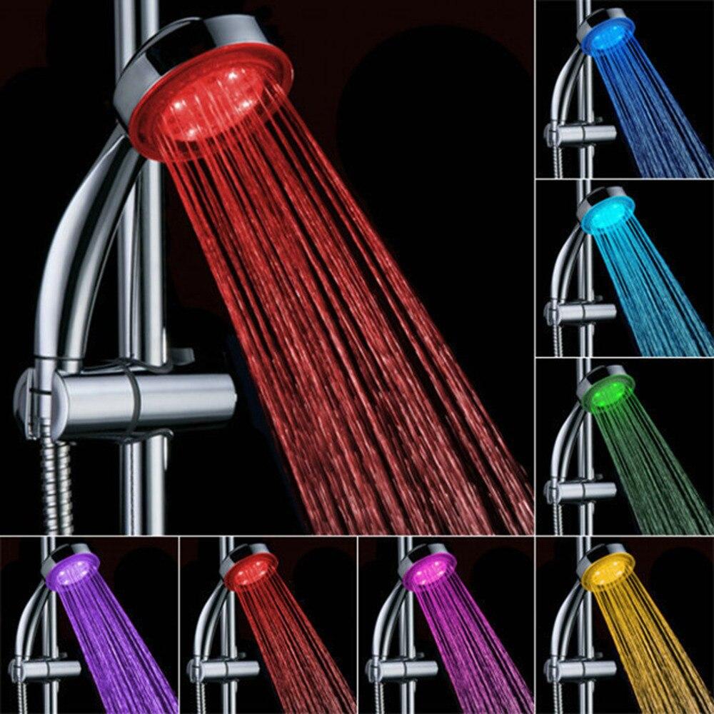 1 PC 7 Warna Tangan Pancuran Menyerahkan Pancuran Shower Kepala dengan Romantis Lampu LED Otomatis untuk Kamar Mandi Jual Panas- internasional