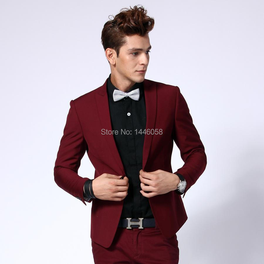 91d26a1dc250 Custom Made Fashion Burgundy Men Business Suits Men Wedding Prom Suits With Pant  Slim Fit Best Man Groom Tuxedos Costume Homme-in Suits from Men s Clothing  ...