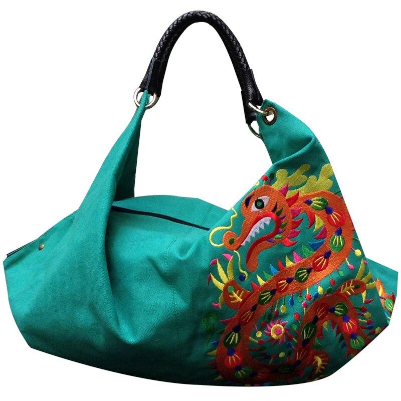Canvas Embroidered Bag National Characteristics Shoulder Bag Women's Leisure Bag, Hobos Bag