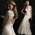 Muito bonito vestido de casamento 2015 Hot Backless Lace V Plus Size praia mangas vestidos de casamento Custom Made vestidos
