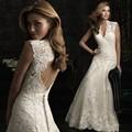 Pretty vestido de boda hermoso 2015 Hot encaje sin espalda Up v-cuello más el tamaño de playa mangas boda vestidos por encargo vestidos